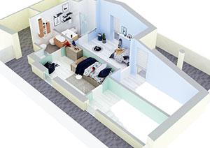 render interni case appartamenti arredo 3d