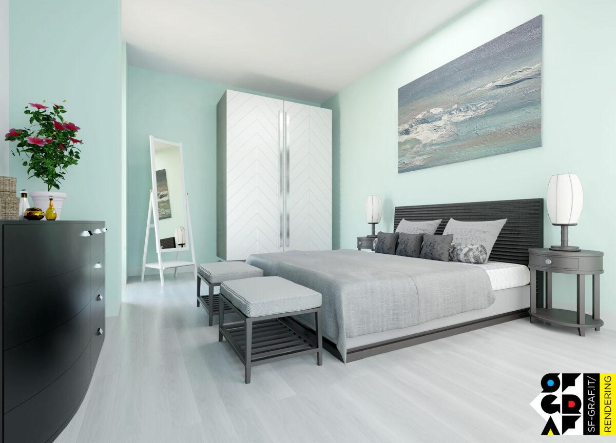 rendering letto armadio pavimenti 3d