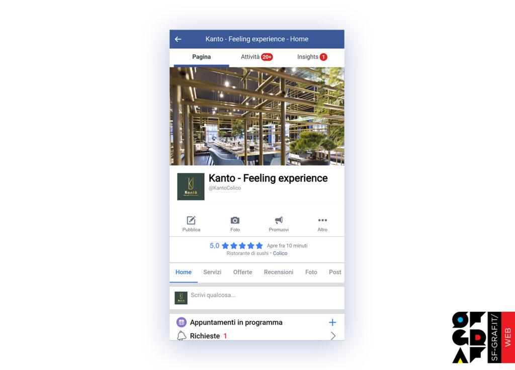 Gestione social Facebook del ristorante Kanto