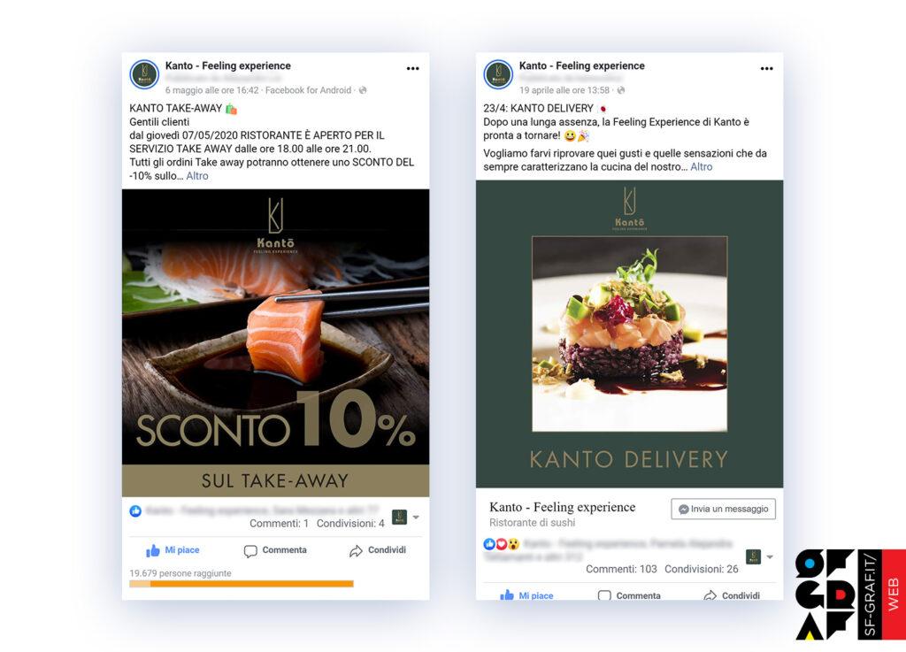 Post con la gestione social Facebook del ristorante Kanto