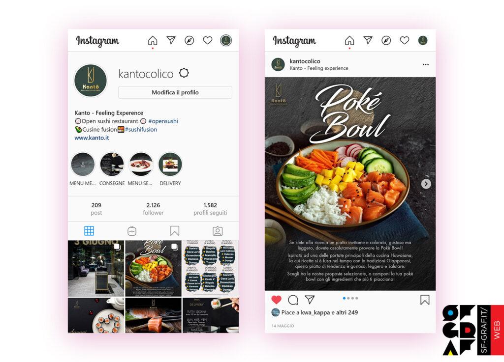 Profilo e post con la gestione social Instagram del ristorante Kanto