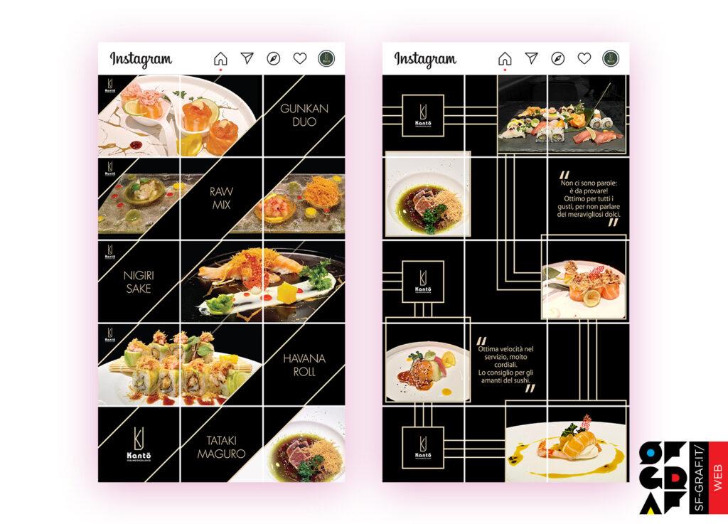 Profilo con gestione social Instagram con layout griglia per il ristorante Kanto