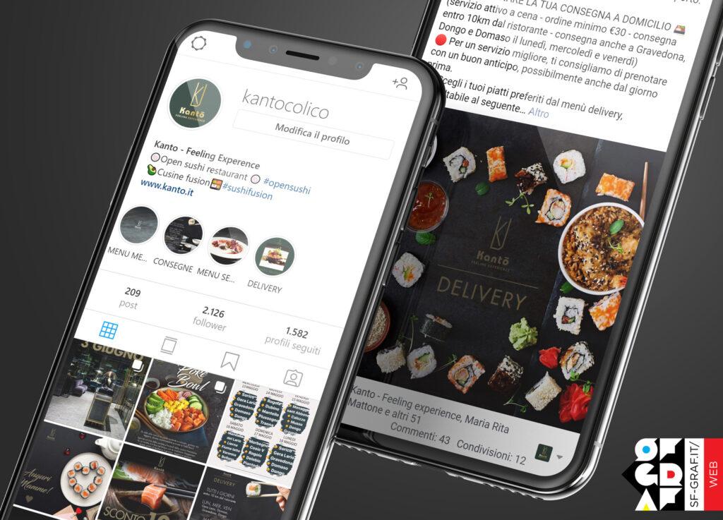 Gestione social Facebook e Instagram del ristorante Kanto in versione mobile