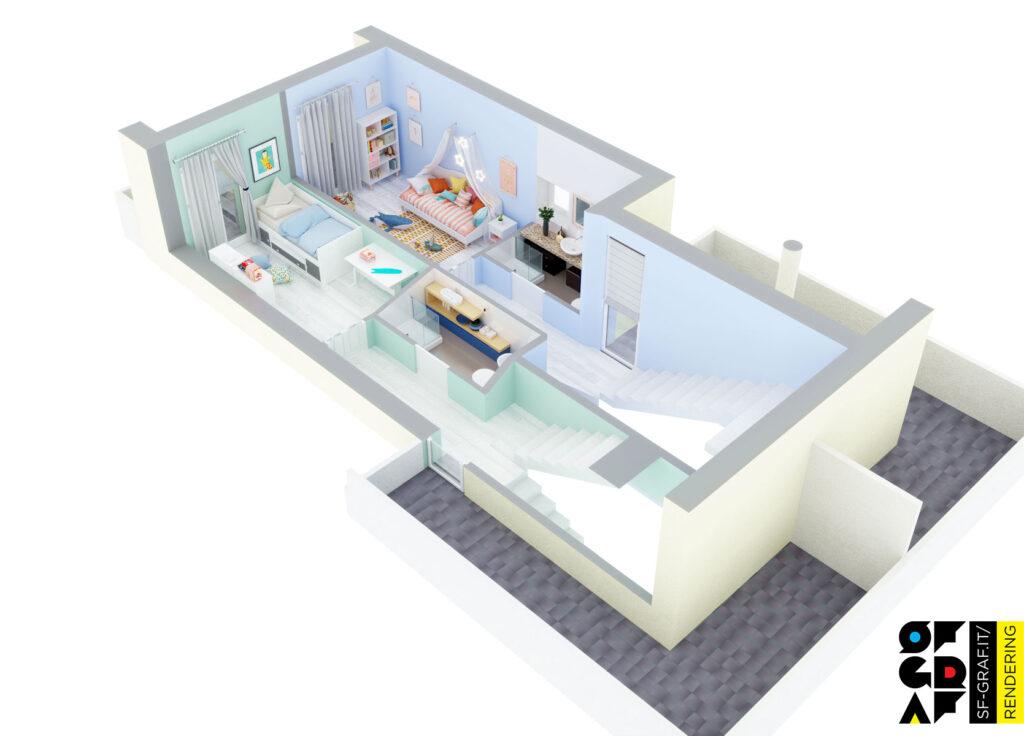spaccato 3d planimetria render interni primo piano