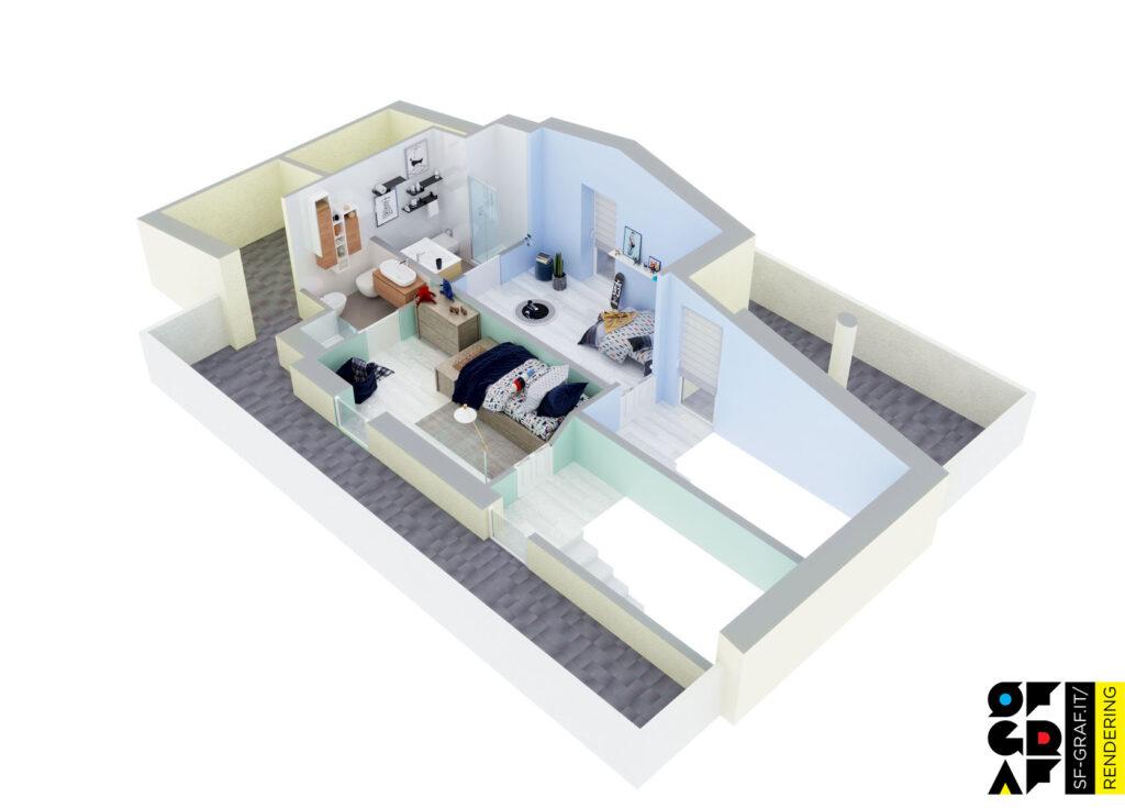spaccato 3d planimetria render interni secondo piano